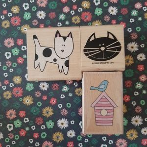 Dog, cat and bird rubber stamps